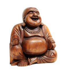 Cohasset Gifts Chinese Jolly Buddha Statue, Hand Carved Brown Mahogany Finish