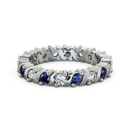1.41 Ct Real Blue Sapphire And Diamond Wedding Bands 14k White Gold Size 5 6 7 8 9