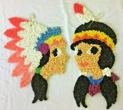 Melted Plastic Popcorn Boy Girl Native American Indians Thanksgiving Decorations