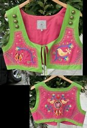 Double D Ranch Leather Pink/green Embroidered Hippy Vest W/tie - Rare