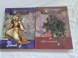 Exalted Lot Of 2 Hardcover Books White Wolf 8811 8814 Dragon-blooded Sidereals