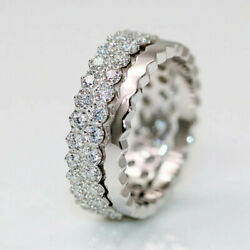 1.20 Ct Real Diamond Eternity Wedding Band 14k Solid White Gold Rings Size 5.5 6