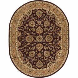 Caesar Cae-1024 8and039 X 10and039 Oval Rug In Burgundy/khaki/red/camel/black/charcoal/tan