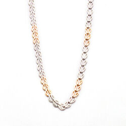 Tight Curb Solid 950 Platinum Necklace And 18k Rose Gold Chain 22 Inch And 6.4 Mm