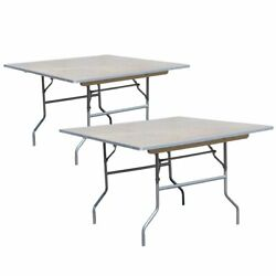 3ft Square Folding Table 2 Pack Outdoor Dining Party Birch Wood Top Steel Legs