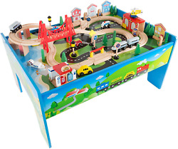 Wooden Train Set Table For Kids, Deluxe Had Painted Wooden Set With Tracks, And