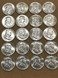 Roll Of Franklin Silver Half Dollar Coins 90 Dated 1961. Bu Proof Rare Lot