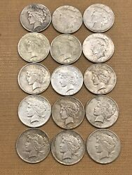 Lot Of 15 Peace Silver Dollar Coins Various Dates Nice Collection Set