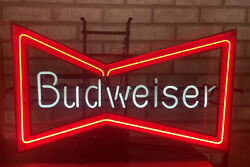 Used Rare Vintage Budweiser Beer Bow Tie Neon Bar Or Store Advertising Sign