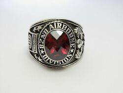 Z241 , Silver 925 , 82nd Airborne Ring , Americas Guard , Army Ring , Size 10.25