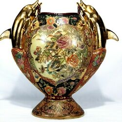 """18"""" Satsuma Double Dolphin Handle Gold Gilded Hand Painted Urn Vase Earthenware"""