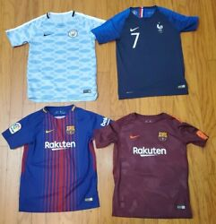 Lot Of 4 Nike Dri-fit Authentic Soccer Jersey Youth Large Messi City Griezmann
