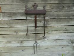 Antique Primitive 18th C Wrought Iron Fireplace Kitchen Utensil Rack Tools Heart