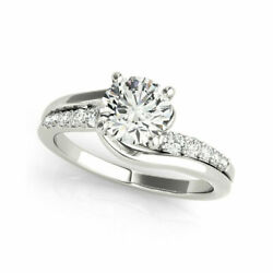 0.65 Ct Real Diamond Engagement Ring For Women 14k Solid White Gold Size 6 7 8 9
