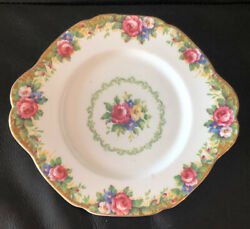 """Paragon Handled Cake Plate Tapestry Rose 9 5/8"""" Red Flowers Gold Trim"""