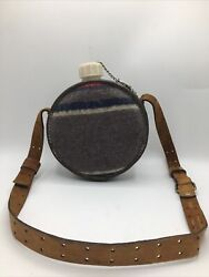 Vintage Wool Covered Canteen With Torel Leather Harness Strap Water Bottle 64 Oz