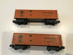 2 A. C. Gilbert American Flyer 802 Illinois Central Box Cars S Scale Knuckle