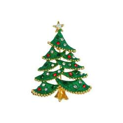 Goebel Brooch Tree Green With Star, Fitz And Floyd, Christmas, Metal Combo