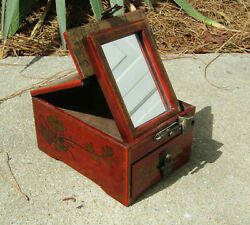Vintage Asian Style Lacquer Jewelry Box With Mirror And Drawer Possibly Antique