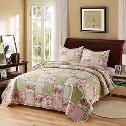 Classic Farmhouse Green Pink Floral Patchwork 3 Pc King Queen Quilt Coverlet Set