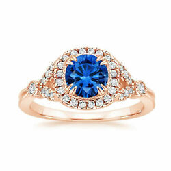 1.60 Carat Natural Diamond Blue Sapphire Ring Solid 14k Rose Gold Size 5 6 7 8 9