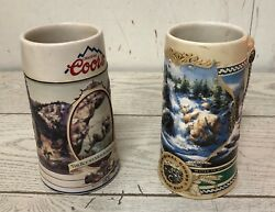 2 Coors Beer Mugs Steins 24 Oz. Rocky Mountain Legend 1994 And Waterfall 1995 Euc