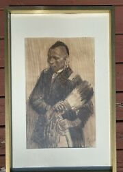 Original Ned Jacob American 1938- Charcoal On Paper Portrait Of Native America