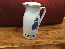 """Country Blue International House 1982 Farmhouse Cat Pitcher 7"""" Tall Mint"""