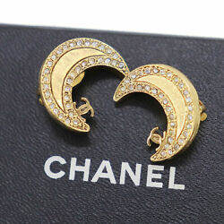Cc Crescent Moon Rhinestone Used Earrings 01p Gold Clip-on Auth Ac259