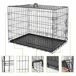 2x 36 Metal Pets Dog Crate Double Door Folding Metal Dog Crates Fully Equipped