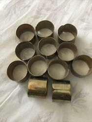 12 Vintage Brass Napkin Ring Holders. Plain. Can Be Engraved.