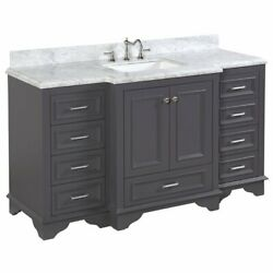 Kbc Nantucket 60 Single Vanity Cabinet With Carrara Stone Top In Charcoal Gray