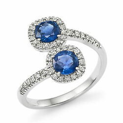 1.43 Ct Real Blue Sapphire Diamond Engagement Ring 14k White Gold Size 5 6 7 8 9