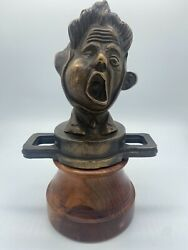 Rare 1925 French Boy With Toothache Hood Ornament Car Mascot Bronze Radiator Cap