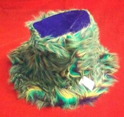 Rare Collectible Pgg Mardi Gras Furry Faux Fur Fedora Hat - One Size Fits All