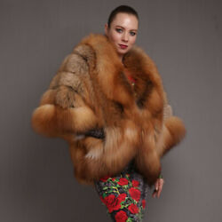 Women Real Red Fox Fur Coat Winter Vintage Whole Skin Warm Thick Overcoat Jacket