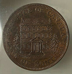 Canada Half Penny Bank Of Montreal Front View Token 1844 Pc1b3 - Iccs Pf-64