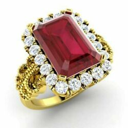 Emerald Real 14k Yellow Gold Christmas Ring 3.1 Ct Diamond Ruby Ring All Size _