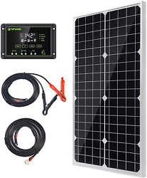 Topsolar Solar Panel Kit 30w 12v Monocrystalline Battery Charger Maintainer With