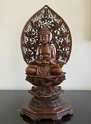 Antique Japanese Seated Detachable Carved Stone Buddha Statue 13.5 High