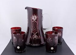 Vintage Bohemian Ruby Red Cut To Clear Crystal Pitcher And 4 Tumlers - Rare