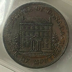 Canada Half Penny Bank Of Montreal Front View Token 1844 Pc1b3 - Iccs Ms-60