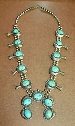 Rare Native American Sterling Persian Turquoise Squash Blossom Necklace [081wei]