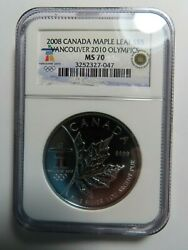 2008 Canadian Silver Maple Leaf 5 Vancouver 2010 Olympics Ngc Graded Ms 70