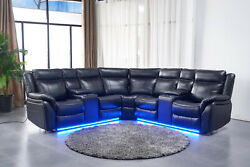 Led Theatre Power Reclining Dual Console Symmetrical Sectional With Built In Usb