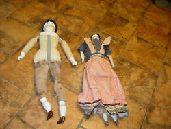 Vintage Hertwig Porcelain German Dolls, Painted Faces And Molded Hair