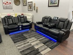 Power Headrest And Footrest Reclining Sofa Loveseat Set W/ Blue Led Theatre Lights