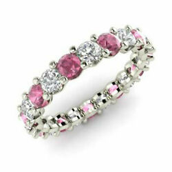 2.03 Ct Real Diamond Pink Sapphire Wedding Band 14k White Gold Rings Size 6 7 8