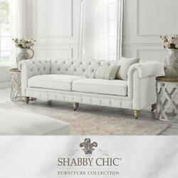 Londynn Sofa Cream White Fabric Linen Button Tufted Rolled Arm Sinuous Springs