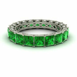 4.40 Carat Natural Diamond Green Emerald Band 14k Solid White Gold Size 5 6 7 8